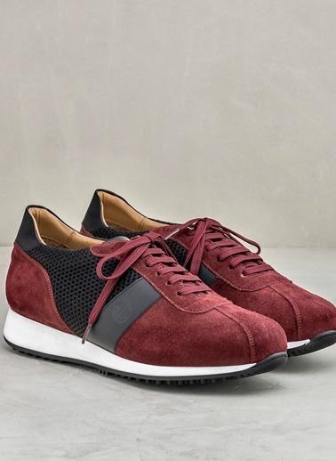 Elle Bağcıklı Spor Ayakkabı Bordo